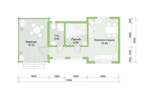 Планировка дома Тереза из двойного минибруса